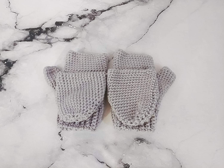Grey Merino Wool Wool Flip-Top Mitts, Convertible Gloves