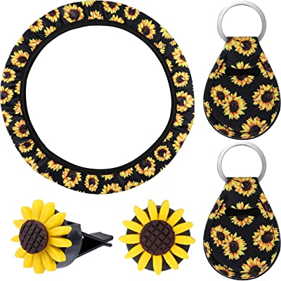 Sunflower Car Accessories Sunflower Steering Wheel Cover with 2 Pieces Cute Sunflowers Keyring and 2 Piece Car Vent Sunflowers (Black Background): Automotive