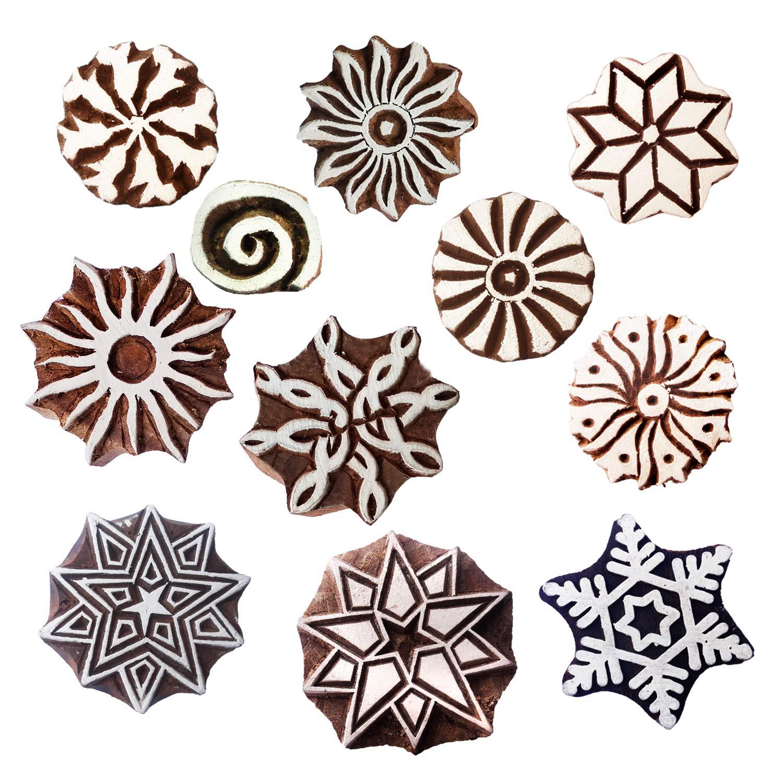Textile Printing Clay Pottery Set of 10 Henna Tattoos Royal Kraft Baren for Block Printing Stamps Wooden Printing Block for Saree Border Scrapbooking