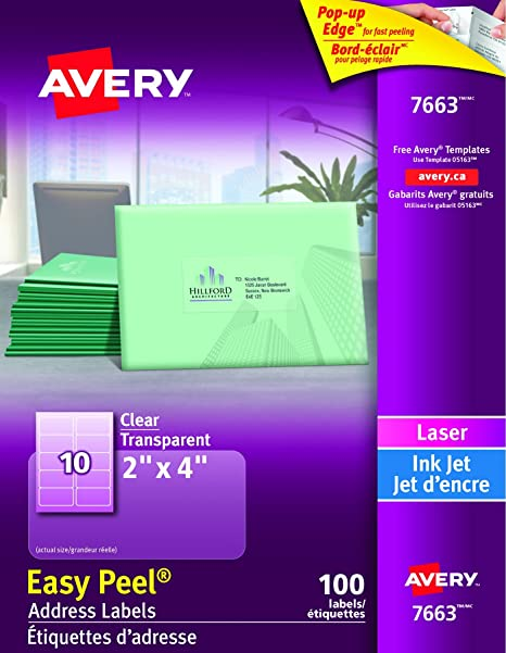 Averyr 18663 Clear Inkjet Shipping Labels With Easy Peelr 2 Avery