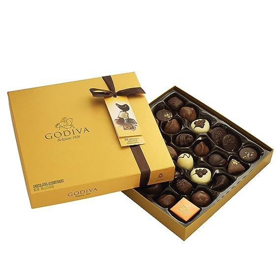 Godiva, Gold Rigid Box bombones pralines surtidos caja regalo 24 piezas, 290g