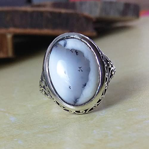 Genuine Dendritic Opal Agate Oval Stone Ring 925 Sterling Silver Man Ring Antique Style Ring Biker Handcrafted Jewelry Arabic Silver Ring