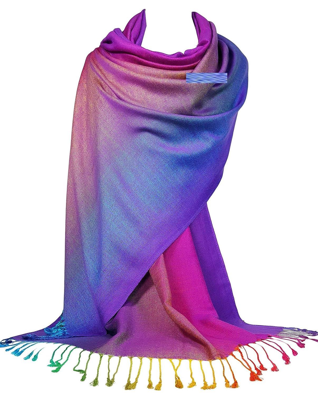 GFM/® sciarpa leggera stile pashmina in colori neon arcobaleno per la primavera e lestate.