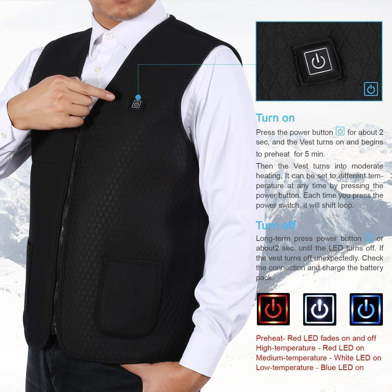 Elettrico Regolabile USB Carica Lavabile Abbigliamento Gilet Riscaldato per Uomo Donna 5 Dimensione Moto Invernale Warm Ricarica Misura Pezzo Riscaldamento