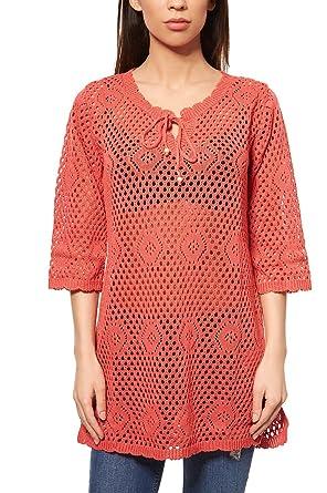 35906a53c44fde BOYSEN´S Pullover Damen Strick-Tunika Strick-Pullover Rot Ajourmuster:  Amazon.de: Bekleidung