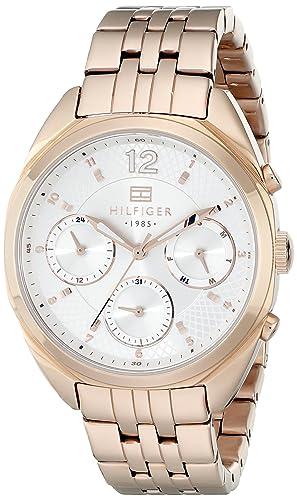 Tommy Hilfiger Watches MIA - Reloj Analógico de Cuarzo para Mujer, Correa de Acero Inoxidable Chapado Color Oro Rosa: Amazon.es: Relojes