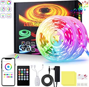 Led Strip Lights for Bedroom 32.8ft RGB LED Lights SMD 16 Million Colors LED Strip Lights, Music sync Color Changing LED Lights Smart WIFI works with Alexa for Kitchen Bedroom Party Home Decor Holiday