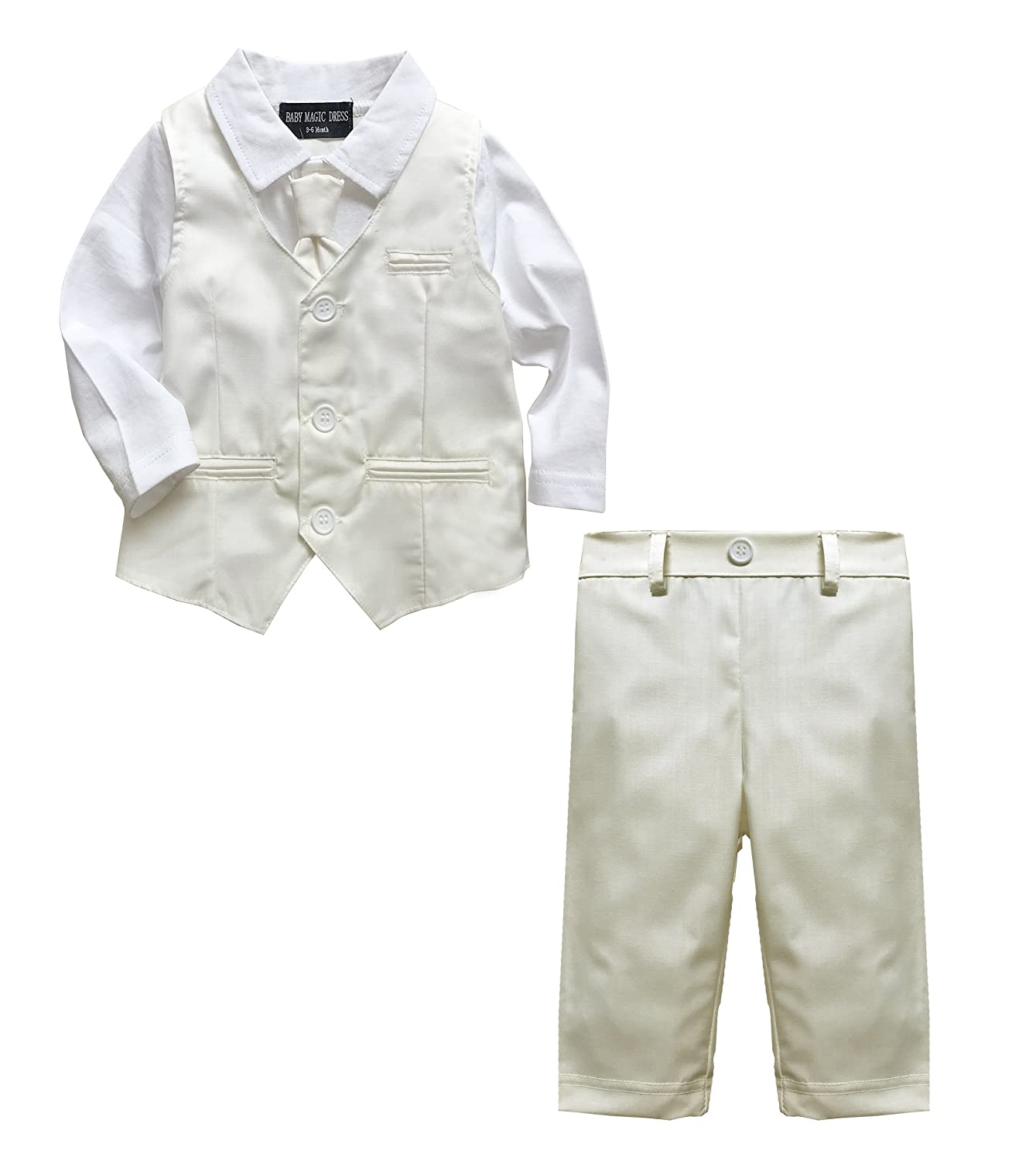 Baby Boy Wedding Christening 2pc Cream Outfit Suit