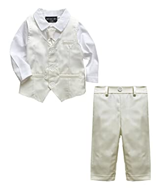 ae3b6a385 Baby Boy Wedding Christening 2pc Cream Outfit Suit: Amazon.co.uk: Clothing