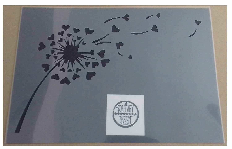 Pissenlit C/œur Style shabby chic Pochoir Style vintage rustique A4/297/x 210/mm Meubles mur Art
