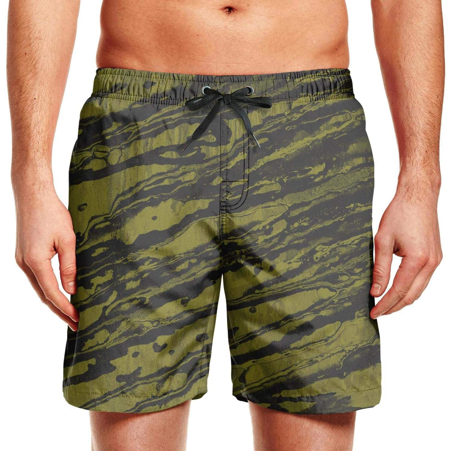 ZYLIN Mens Swim Trunks Printed Army Camo Camouflage Swimsuit Slim Fit with Mesh Lining
