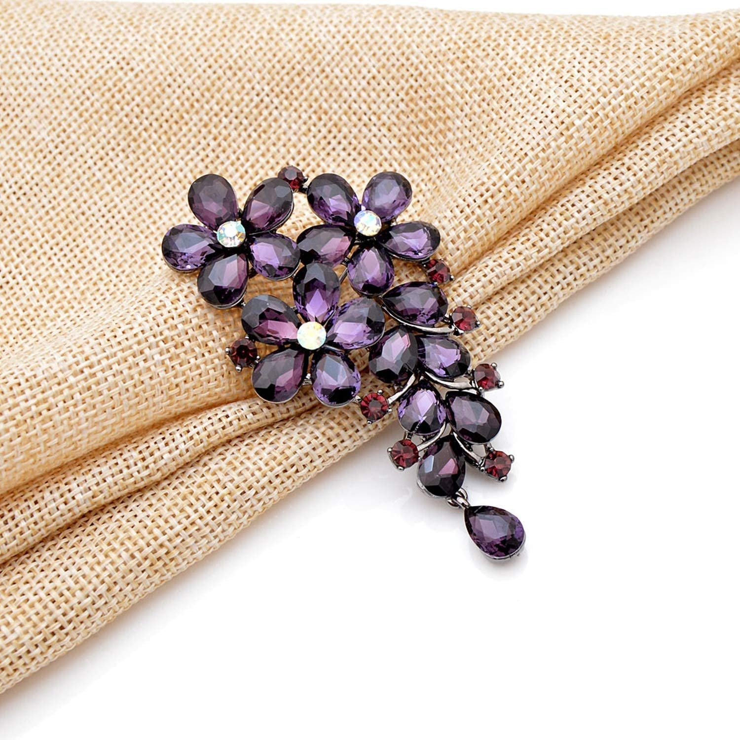 Minusone Brooch Pins-Purple Color Crystal Flower Large Brooches Autumn Coat Brooch Pin Jewelry New