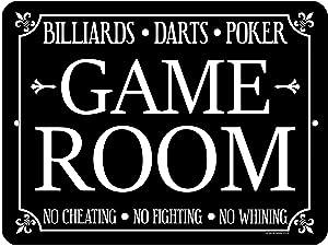Honey Dew Gifts Game Room Decor, Billiards, Darts, Poker 9 x 12 inch Metal Aluminum Novelty Tin Sign Decor