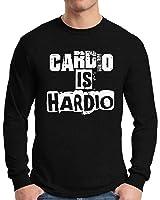 Awkward Styles Men's Cardio Is Hardio Long Sleeve T shirt Tops White Workout Gym