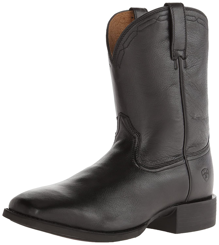 Black Deer Tan ARIAT Men's Heritage Roper Wide Square Toe Western Boot