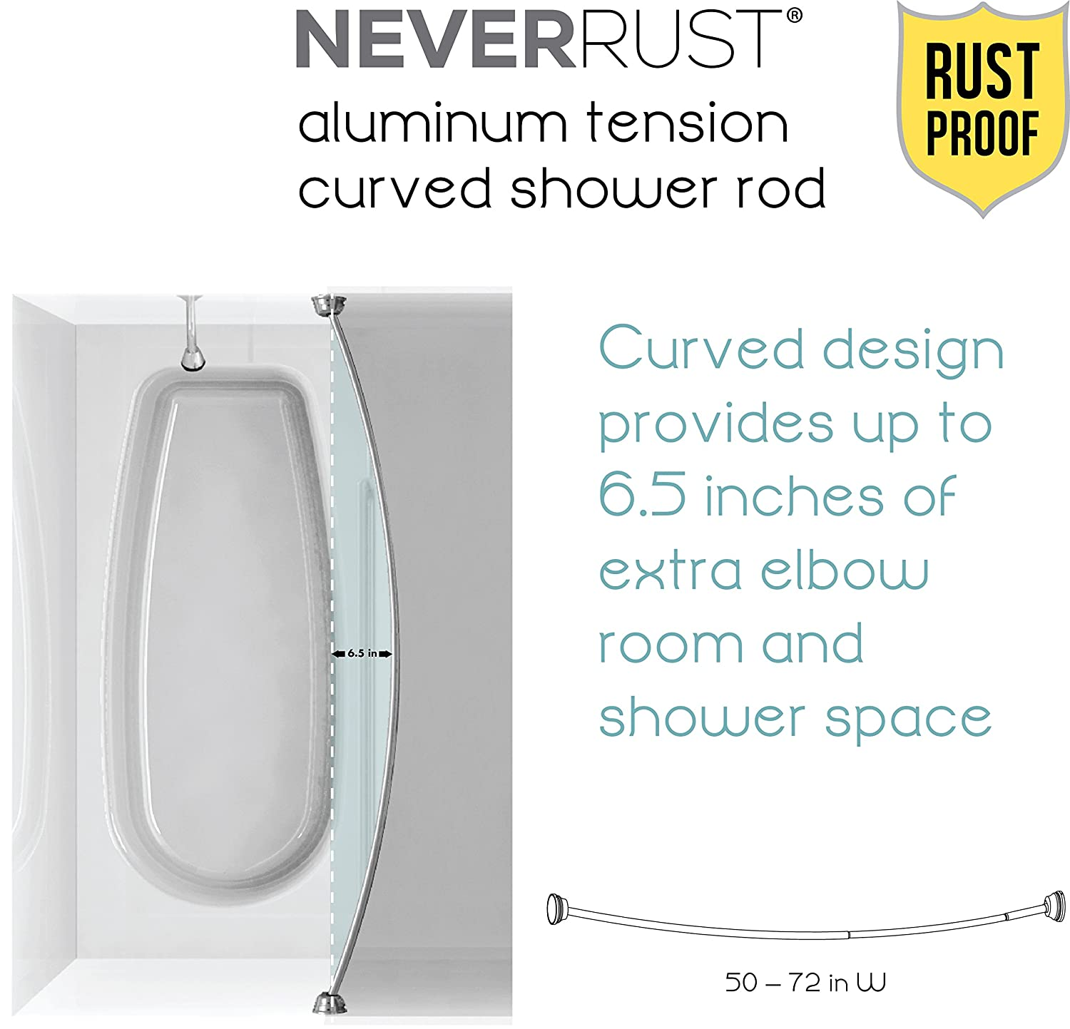 amazoncom zenna home 35633ssp neverrust aluminum tension curved shower curtain rod 50 to 72inch chrome home u0026 kitchen