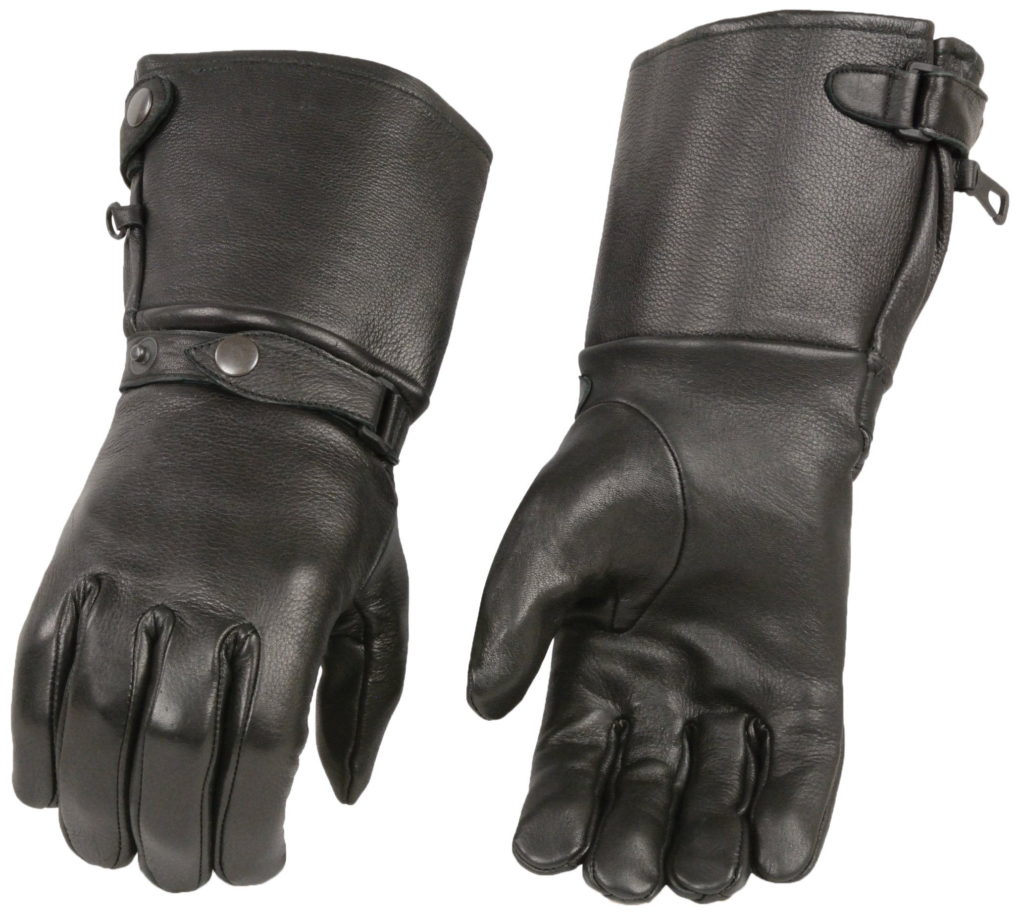 Shaf International Men's Long Cuff Deer Skin Gloves (Black, X-Large)