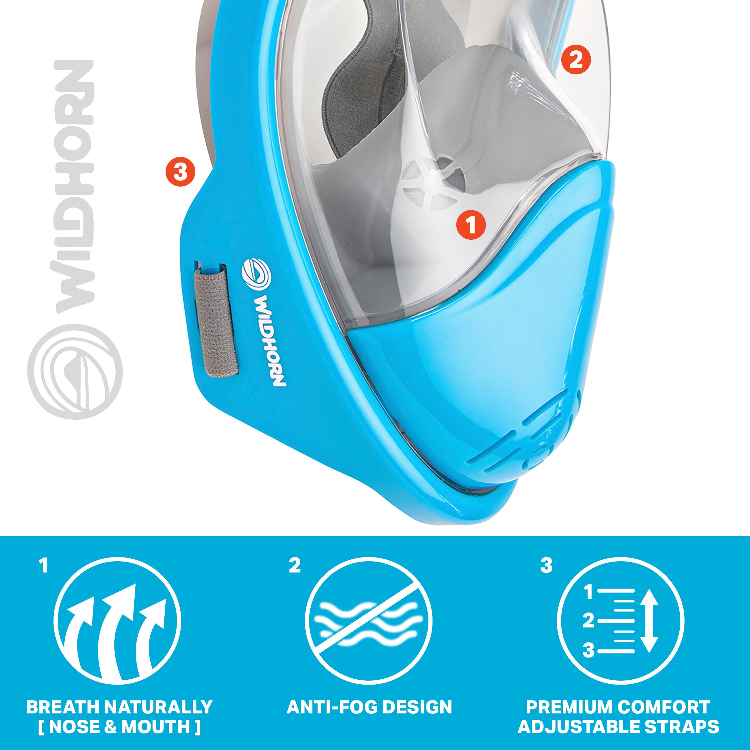 Seaview 180° GoPro Compatible Snorkel Mask- Panoramic Full Face Design. See More With Larger Viewing Area Than Traditional Masks. Prevents Gag Reflex with Tubeless Design (Aqua, S/M) by WildHorn Outfitters (Image #5)