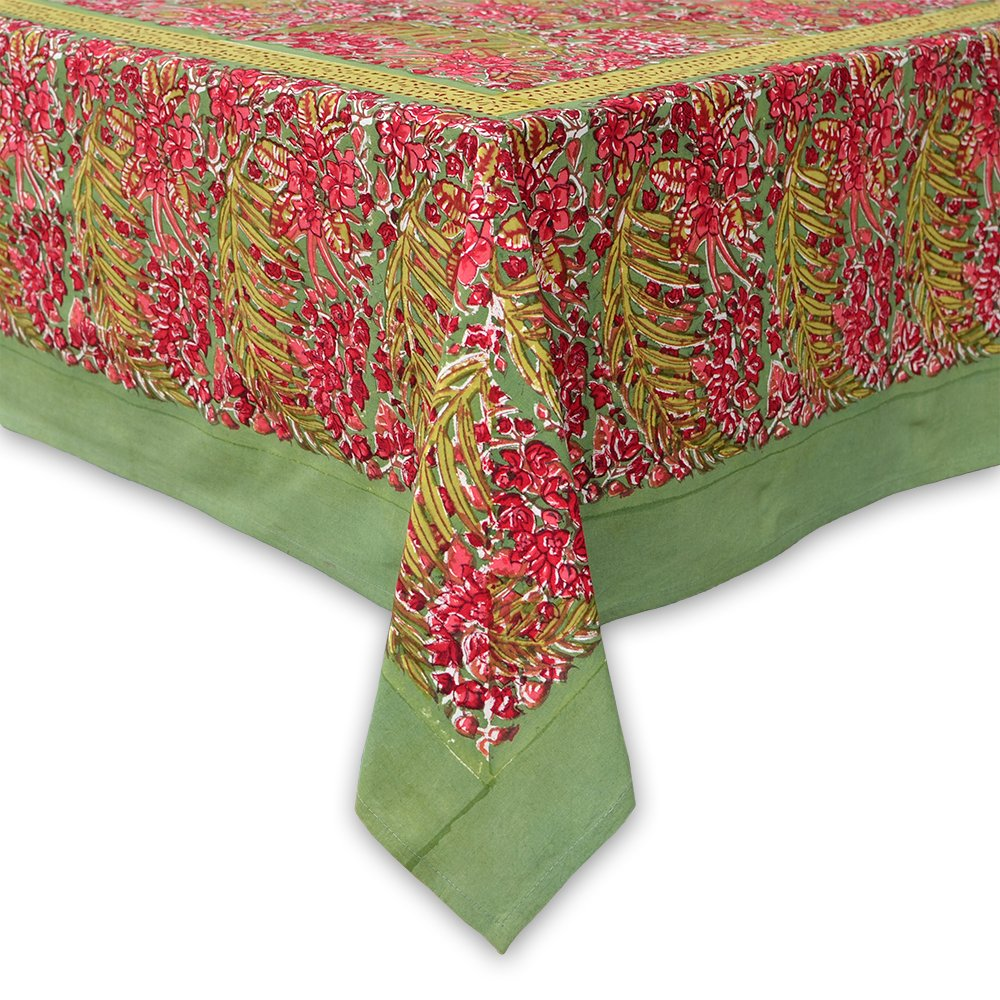 Couleur Nature Bougainvillea Tablecloth, 90-inches by 90-inches, Green/Red