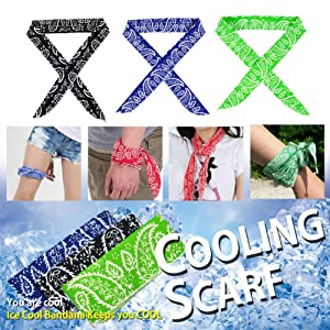 Pack of 3, The Elixir Ice Cool Scarf Neck Wrap Water Cooled Neck Cooler Cooling Bandana