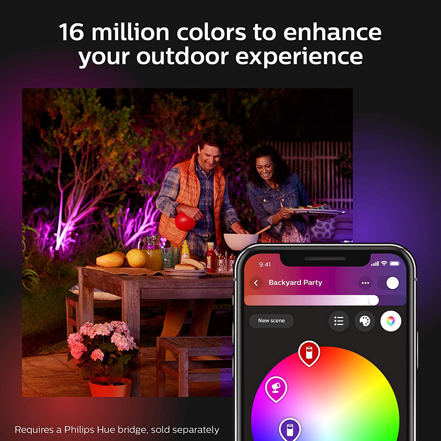 Philips Hue Discover Outdoor White & Color Ambiance Smart Floodlight (Hue Hub Required, Smart Light Works with Alexa, Apple Homekit and Google Assistant): Home Improvement
