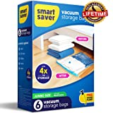 """SmartSaver Vacuum Storage Bags - 6 JUMBO (40""""X28"""") Reusable Ziplock Space Saver Bags for Clothes Comforters Blankets Pillows Bedding Packing (Lifetime Replacement Guarantee) FREE hand pump for travel"""