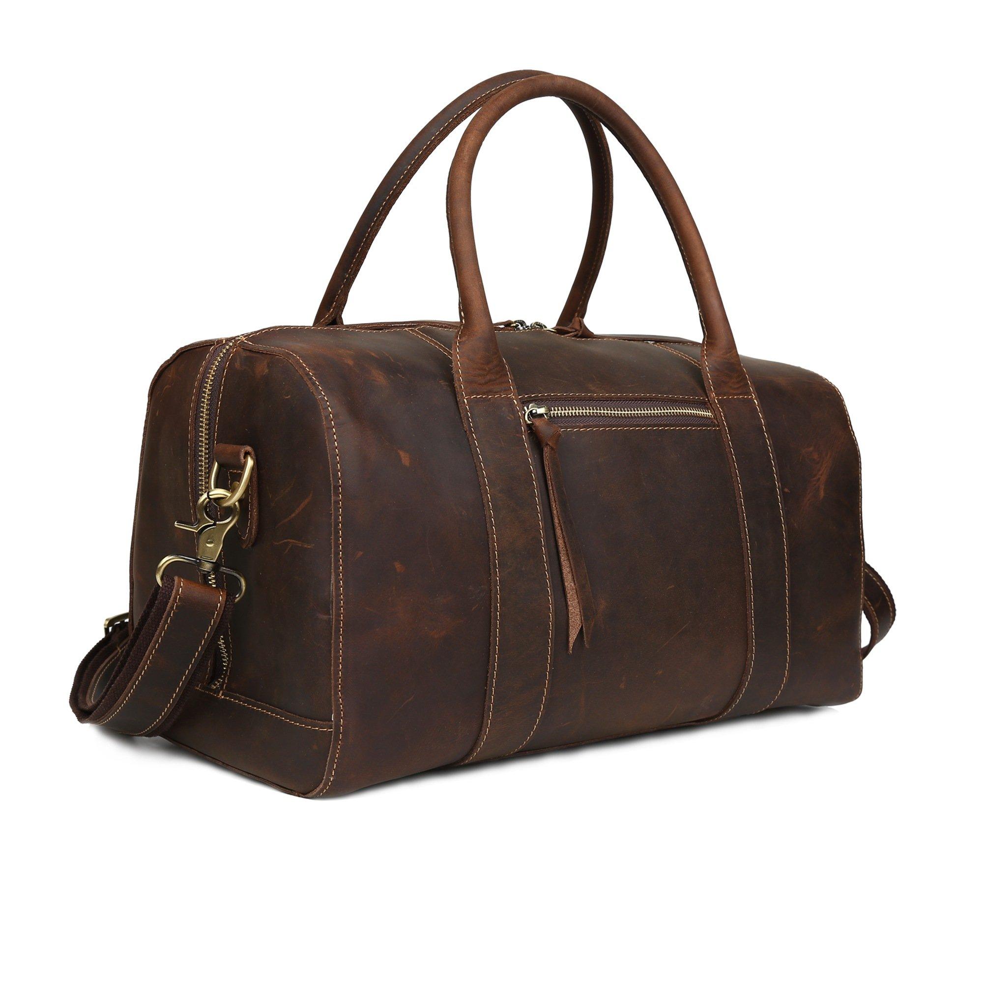Huntvp Mens Leather Travel Duffle Bags Crazy Horse Vintage Luggage Shoulder Handbags