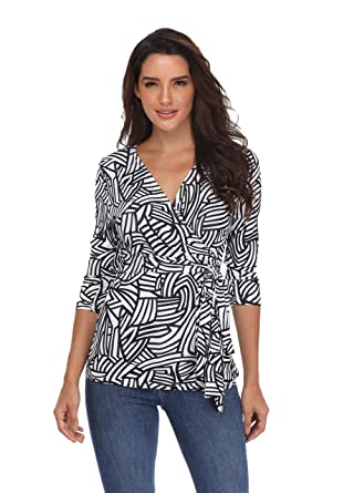 5e7495afa75f36 MISS MOLY Wrap Tops for Women V-Neck Style Blouse 3 4 Sleeve Geometric