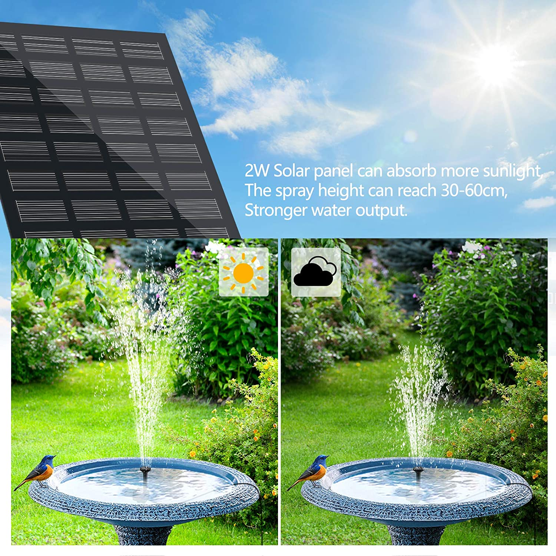 Solarpumpe Teichpumpe mit 1,8W Solar Panel Garten Wasserpumpe mit 4 Effekte Solar schwimmender Font/äne Pumpe f/ür Gartenteich Oder Springbrunnen Vogel-Bad Fisch-Beh/älter yotame Solar Springbrunnen