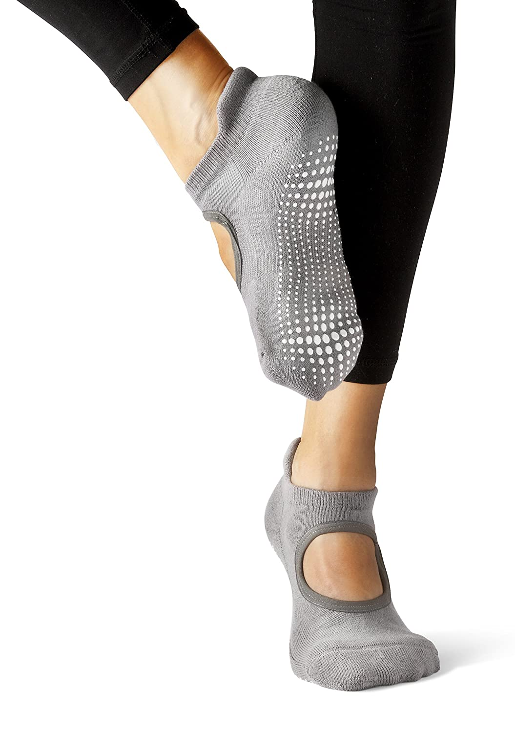 Amazon.com: LA Active Grip Socks - 2 Pairs - Yoga Pilates Barre Ballet Non Slip, Powder Grey/Noire Black, Medium: Clothing