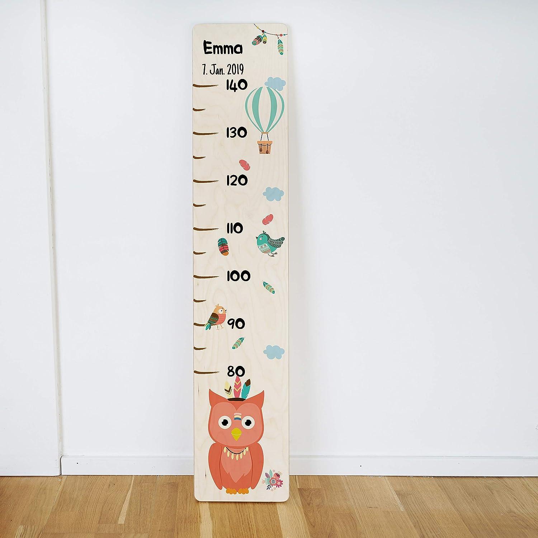 Geschenk zur Geburt Geschenk zur Taufe Messlatte Kind Holz Messleiste f/ür Kinder personalisiert mit Name und Datum