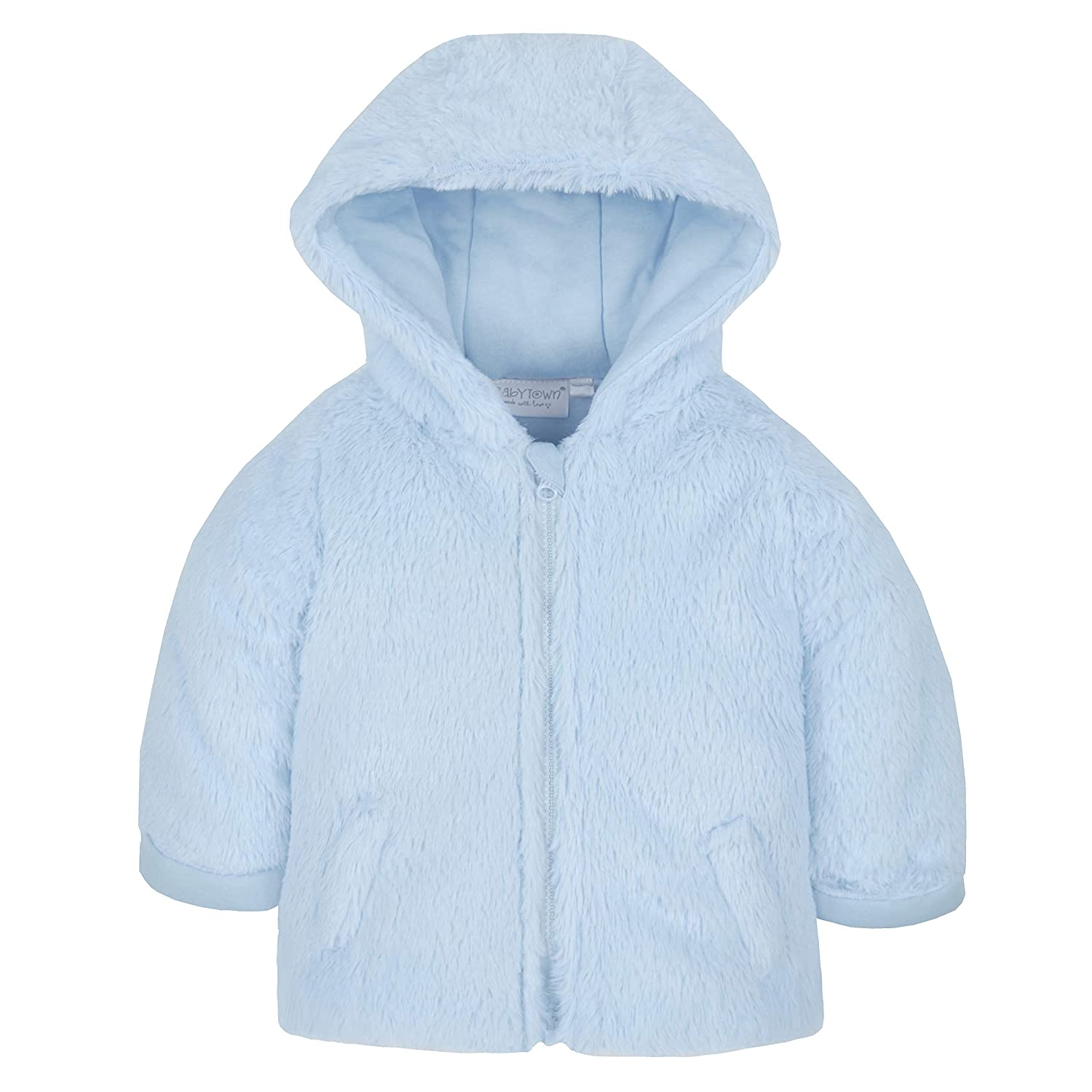 Metzuyan Unisex Baby Fluffy Winter Coat with Hood /& Zip Blue 6-9 Months