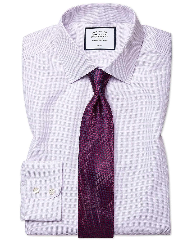 Chemise à Motif à Effet Tirets violets Slim Fit Sans Repassage   violets (Poignet Mousquetaire)   17   37