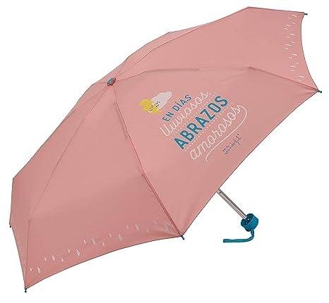 Paraguas plegable Mr. WonderfulEn días lluviosos abrazos amorosos Rosa