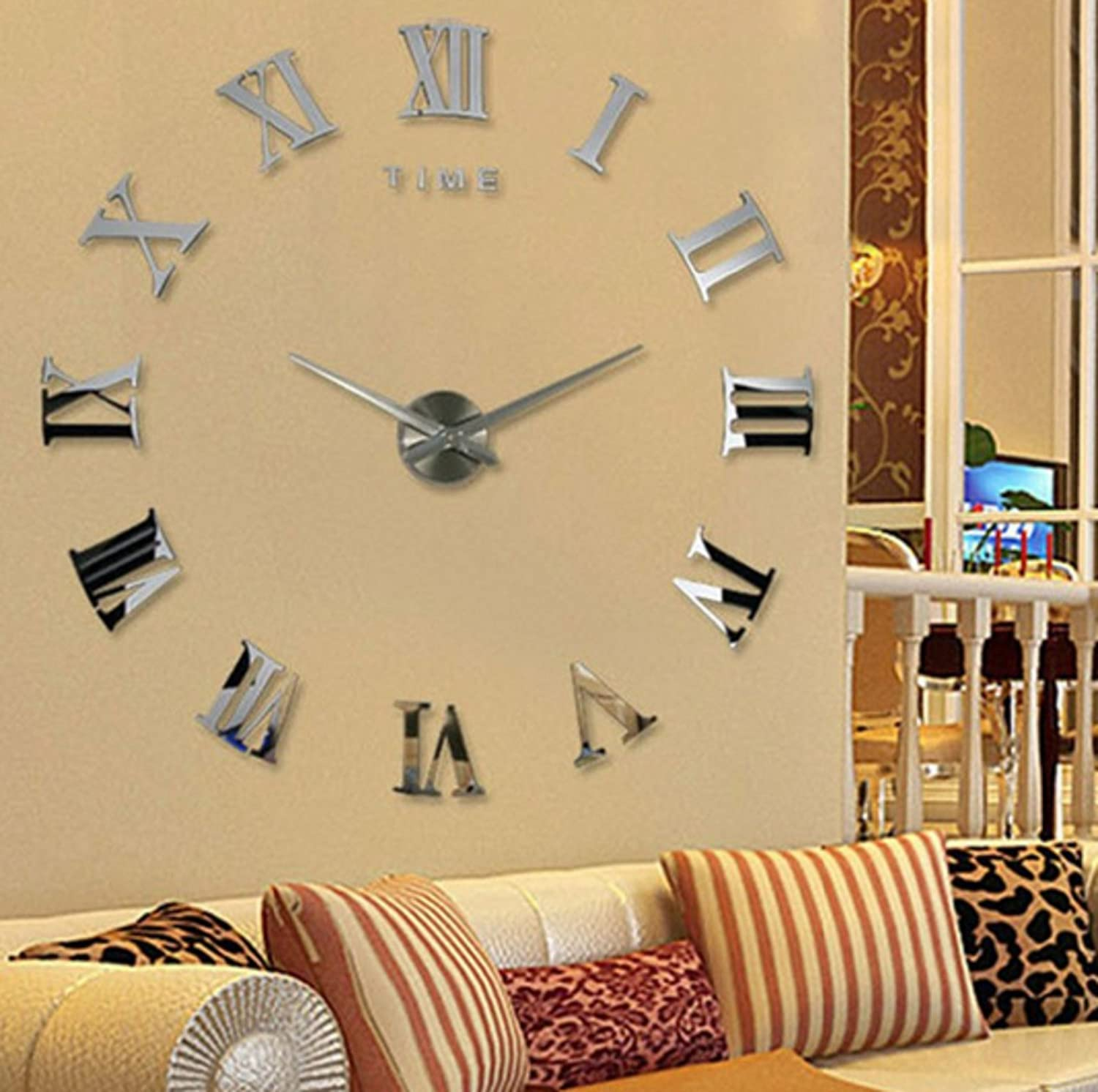 Amazon.com: Modern Design DIY 3D Big Wall Clock Home Decor Quartz ...