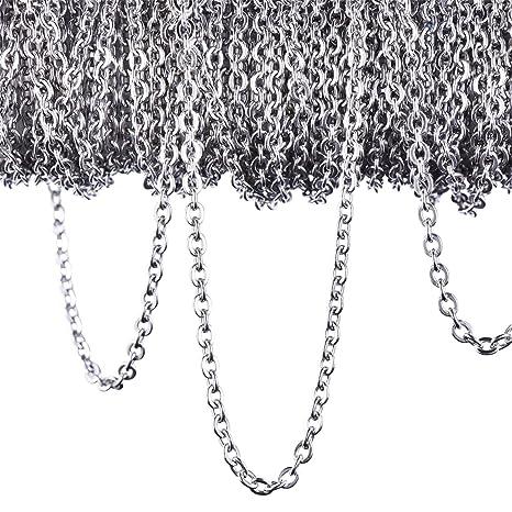 002257fb9ae3 12 Metro Cadena de Cable de Acero Inoxidable Collar de Cadena para  Accesorios de Bisutería de DIY