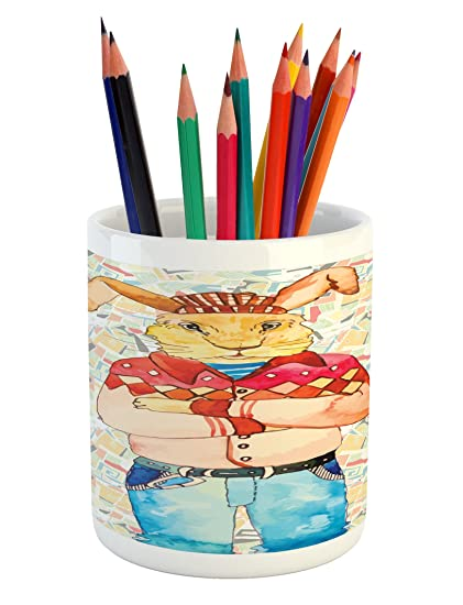 Ordinaire Lunarable Hippie Pencil Pen Holder, Hipster Fashion Rabbit In Punk Clothes  Indie Look Modern Funky