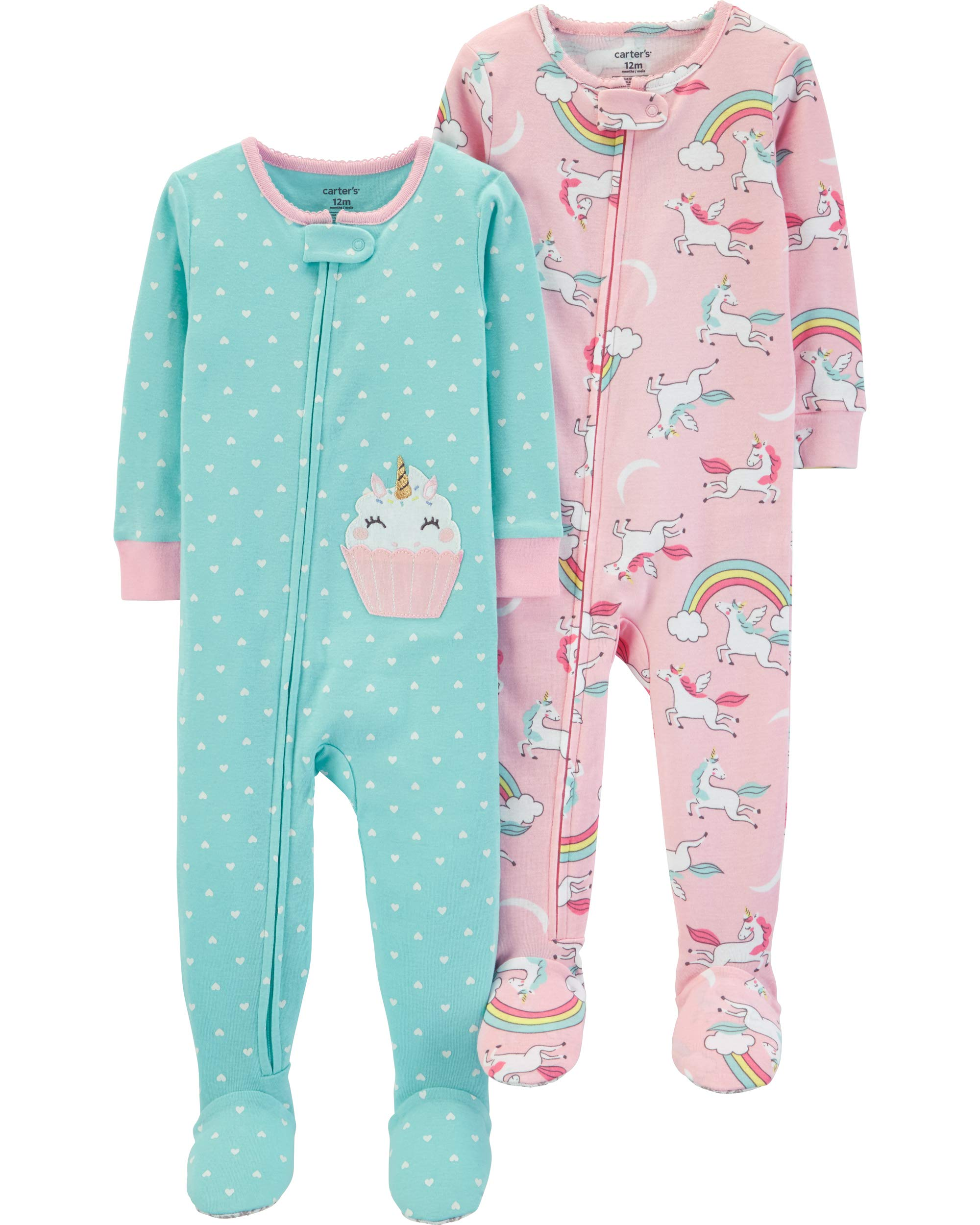 Carter's Girls' Toddler 2-Pack Cotton Footed Pajamas, Unicorn/Cupcake, 3T by Carter's