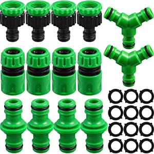 Garden Hose Tap Connector Kit Hose Connector Fitting Set Including 4 Hose End Quick Connector, 4 Double Male Hose Connector, 4 1/2 Inch to 3/4 Inch Hose Tap Connector 2 Hose Tee Fitting and 12 Gasket