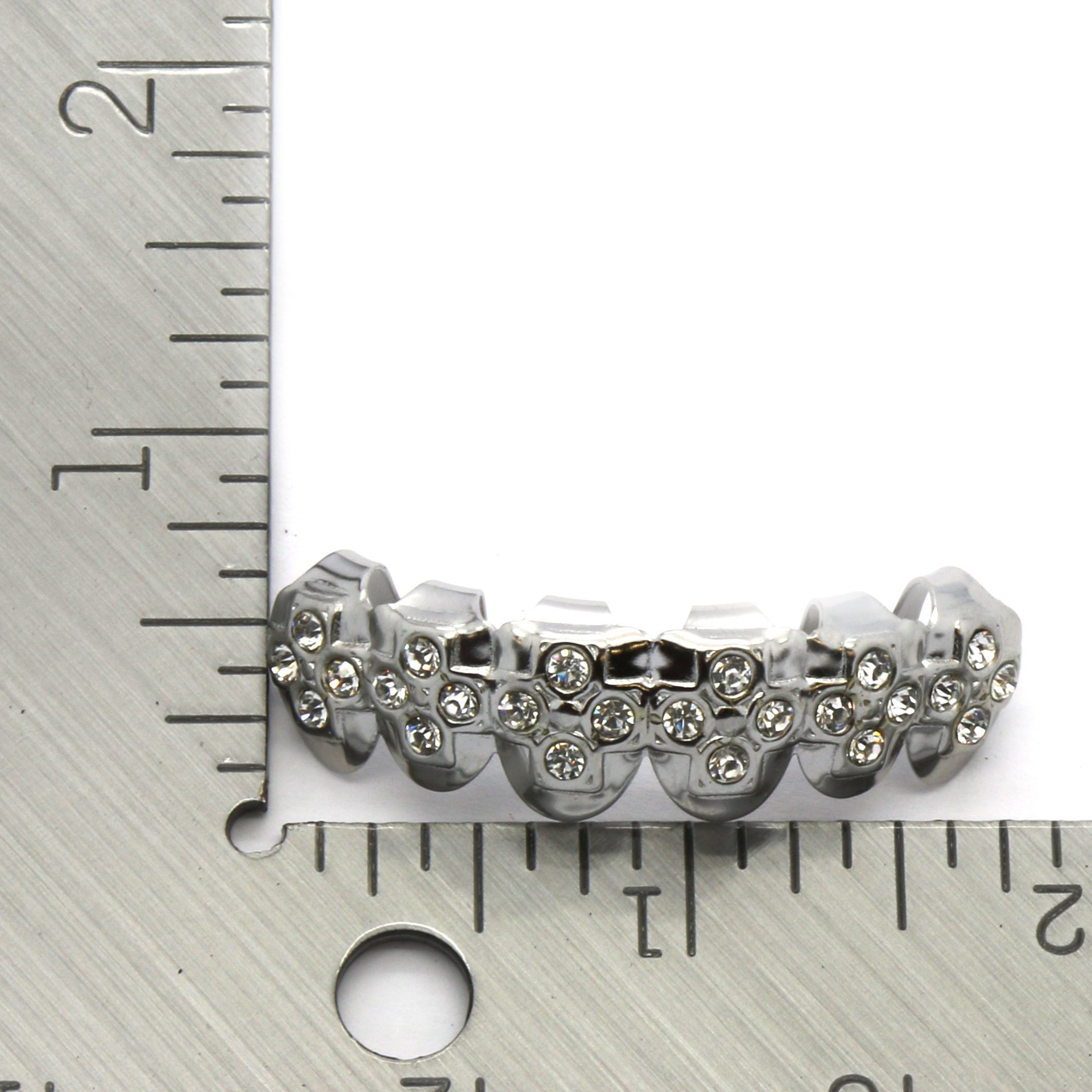 Top Row Cz Cross Embossed Hiphop Bling Grillz Silver Tone