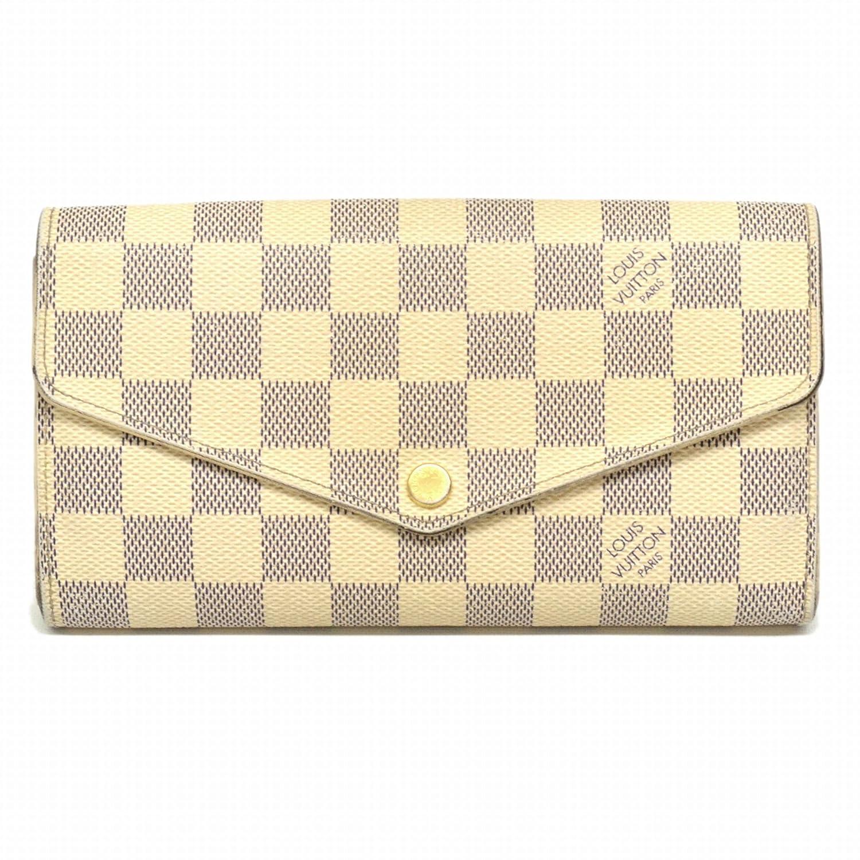 ルイヴィトン LOUIS VUITTON ポルトフォイユ サラ ダミエ アズール 二つ折 長財布 ホワイト 白 ゴールド金具 N63208 中古 B07DWXP8W5