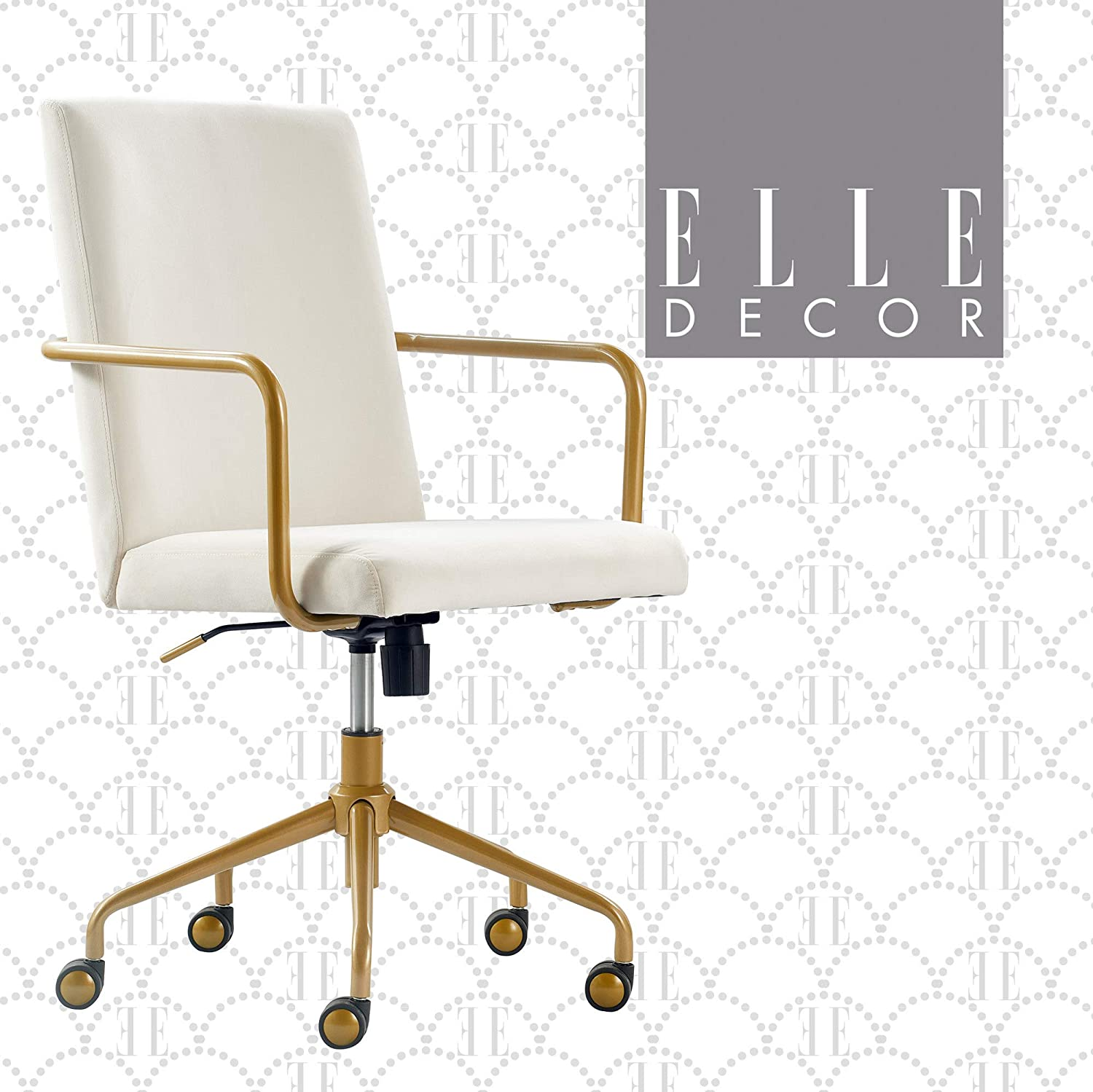 Amazon Com Elle Decor Giselle Modern Home Office Desk Chair High Back Adjustable Computer Chair With Gold Arms Base And Wheels Velvet Fabric Cream Furniture Decor