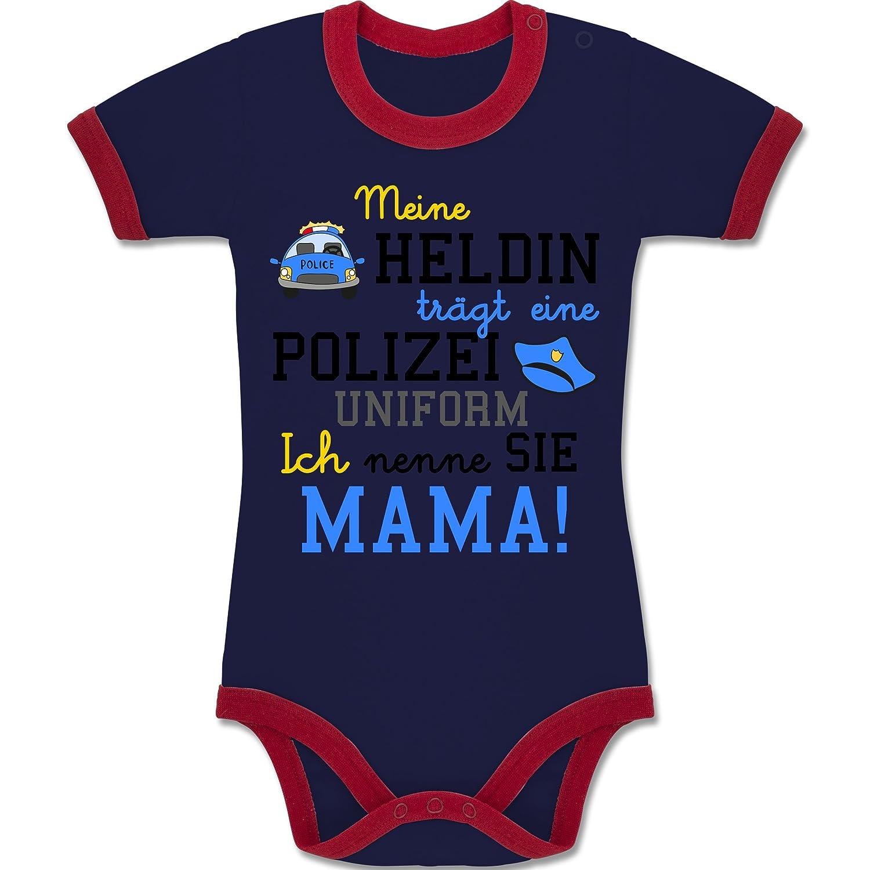 Shirtracer Anlässe Baby - Meine Heldin trägt eine Polizei Uniform Mama - Zweifarbiger Baby Strampler für Jungen und Mädchen BZ19