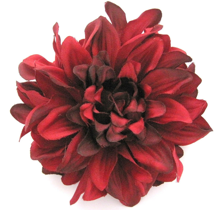 Amazon 45 Deep Red Dahlia Silk Flower Brooch Pin Clothing