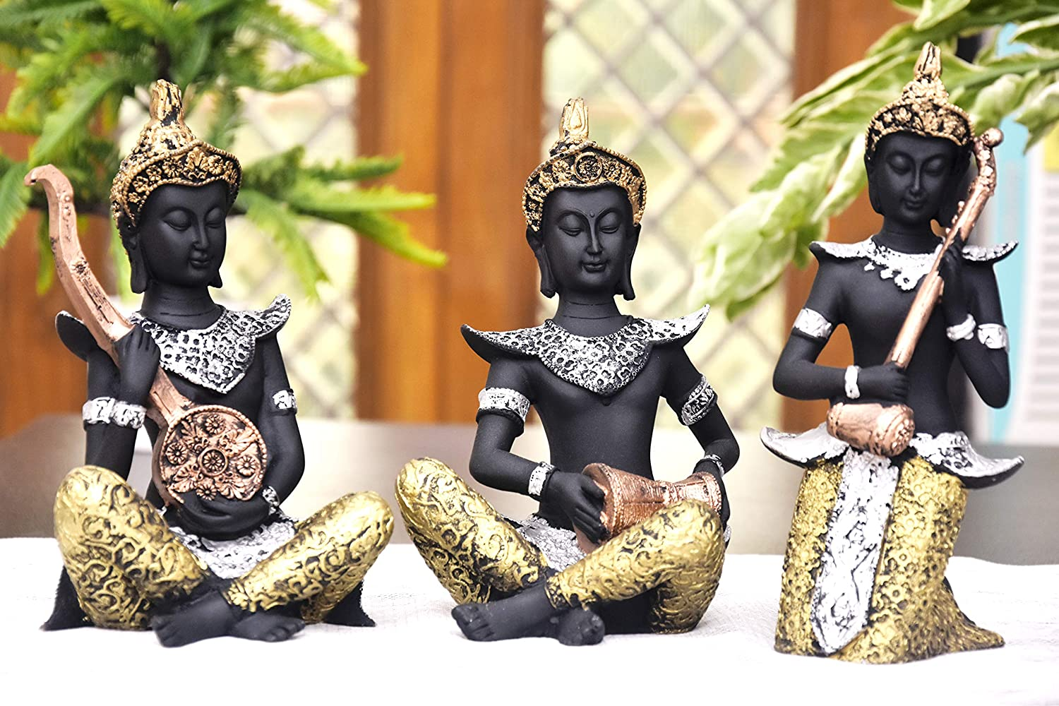 Antique Lord Buddha Statue Set Playing Musical Instruments