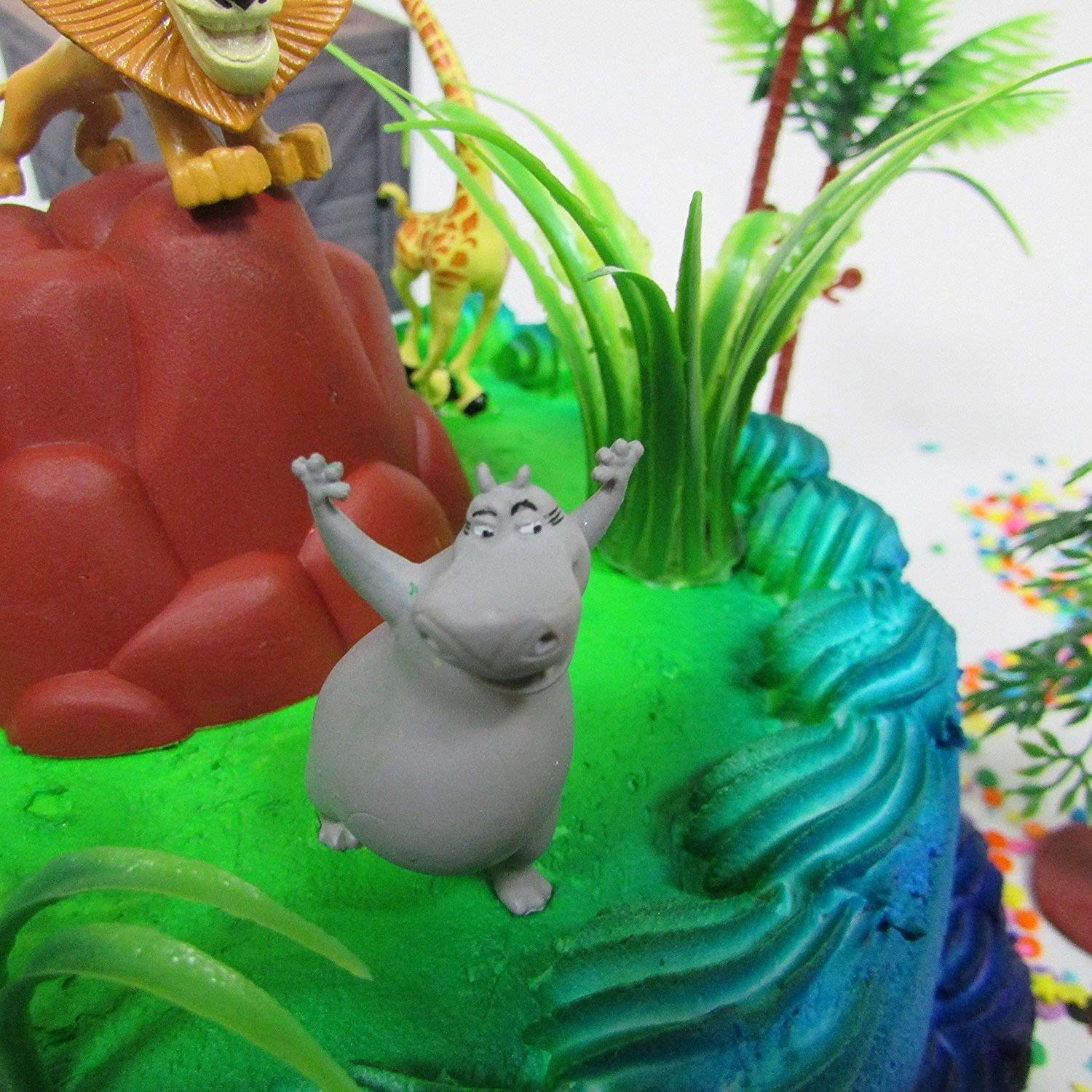MADAGASCAR Birthday Cake Topper Set Featuring Alex and Friends Figures and Decorative Themed Accessories Cake Toppers