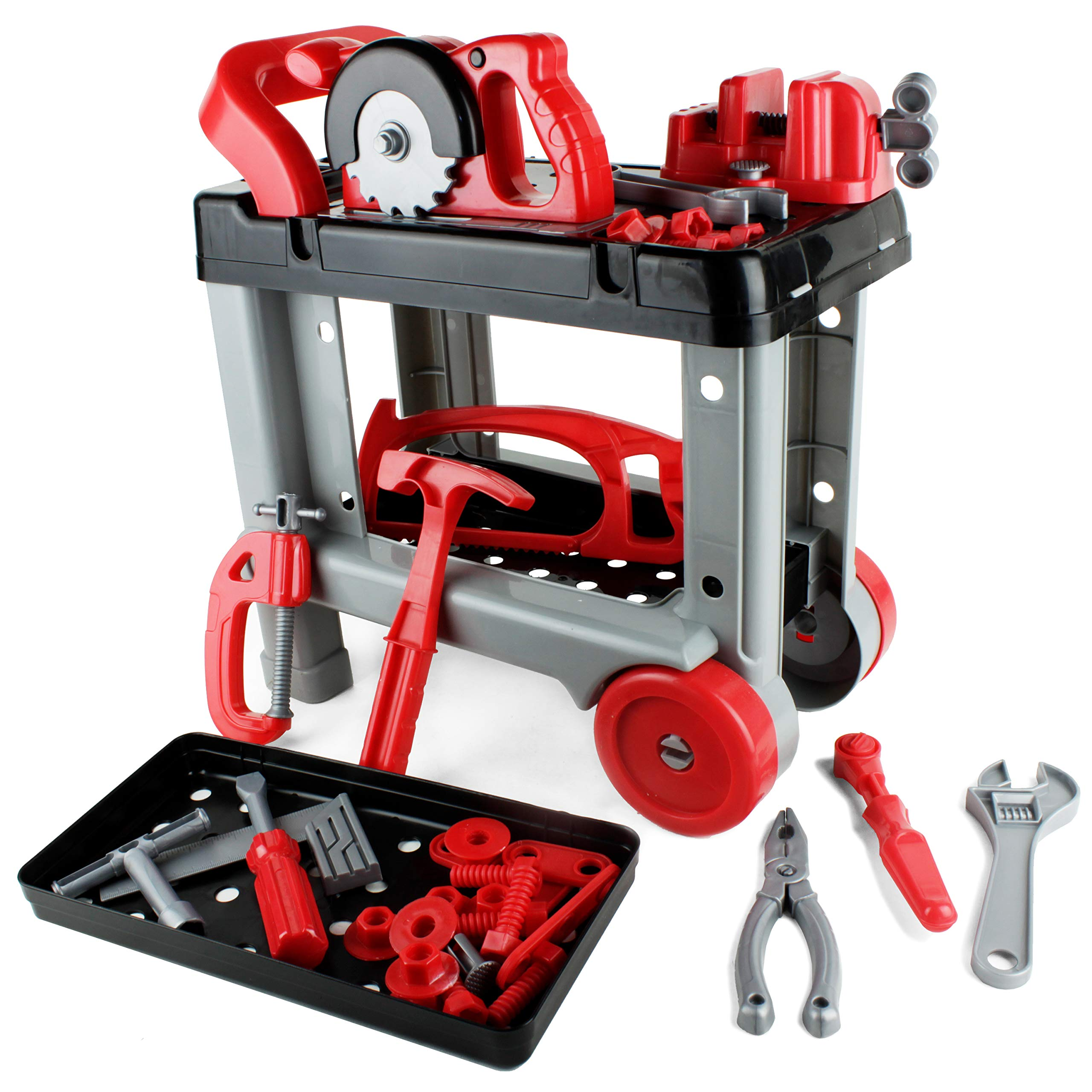Boley Builders Rolling Tool Work Bench Construction Toy Set - Boys and Girls Pretend Play Set Includes Hammers, Wrenches, Power Saws, and More - Imaginative Fun for Toddler Education