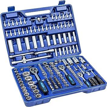 TecTake Caja de trinquete de 171 piezas kit tuercas herramientas bits y llaves de vaso (1/2, 3/8 y 1/4 pulgada): Amazon.es: Bricolaje y herramientas