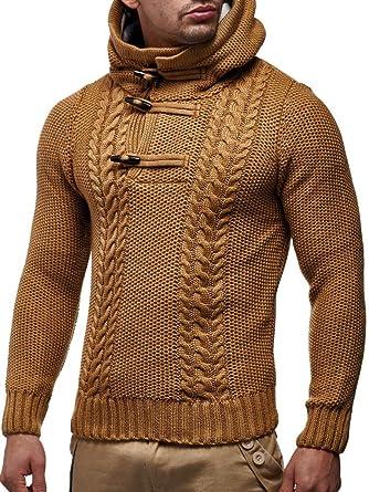 4451f2f9acbf LEIF NELSON Herren-Strickpullover   Strick-Pulli mit Kapuze   Moderner Woll- Pullover