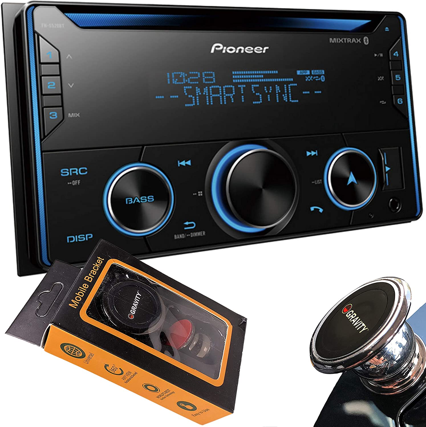 Smart Sync PIONEER FH-S520BT Pioneer FHS520BT Double Din Bluetooth in-Dash CD//Am//FM Car Stereo Receiver W//USB Alexa Compatible